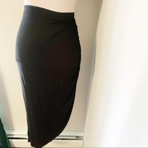 Black skirt ruched on one side